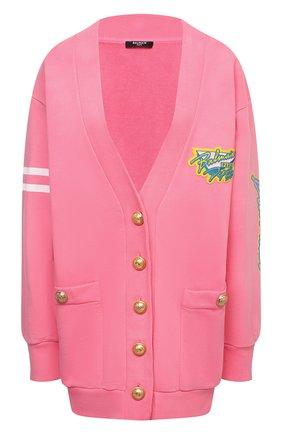 Женский хлопковый кардиган BALMAIN розового цвета, арт. VF13481/J096 | Фото 1