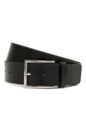 Мужской кожаный ремень HUGO черного цвета, арт. 50430676 | Фото 1 (Случай: Формальный)