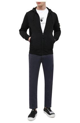 Мужской хлопковая толстовка STONE ISLAND черного цвета, арт. 741564251 | Фото 2