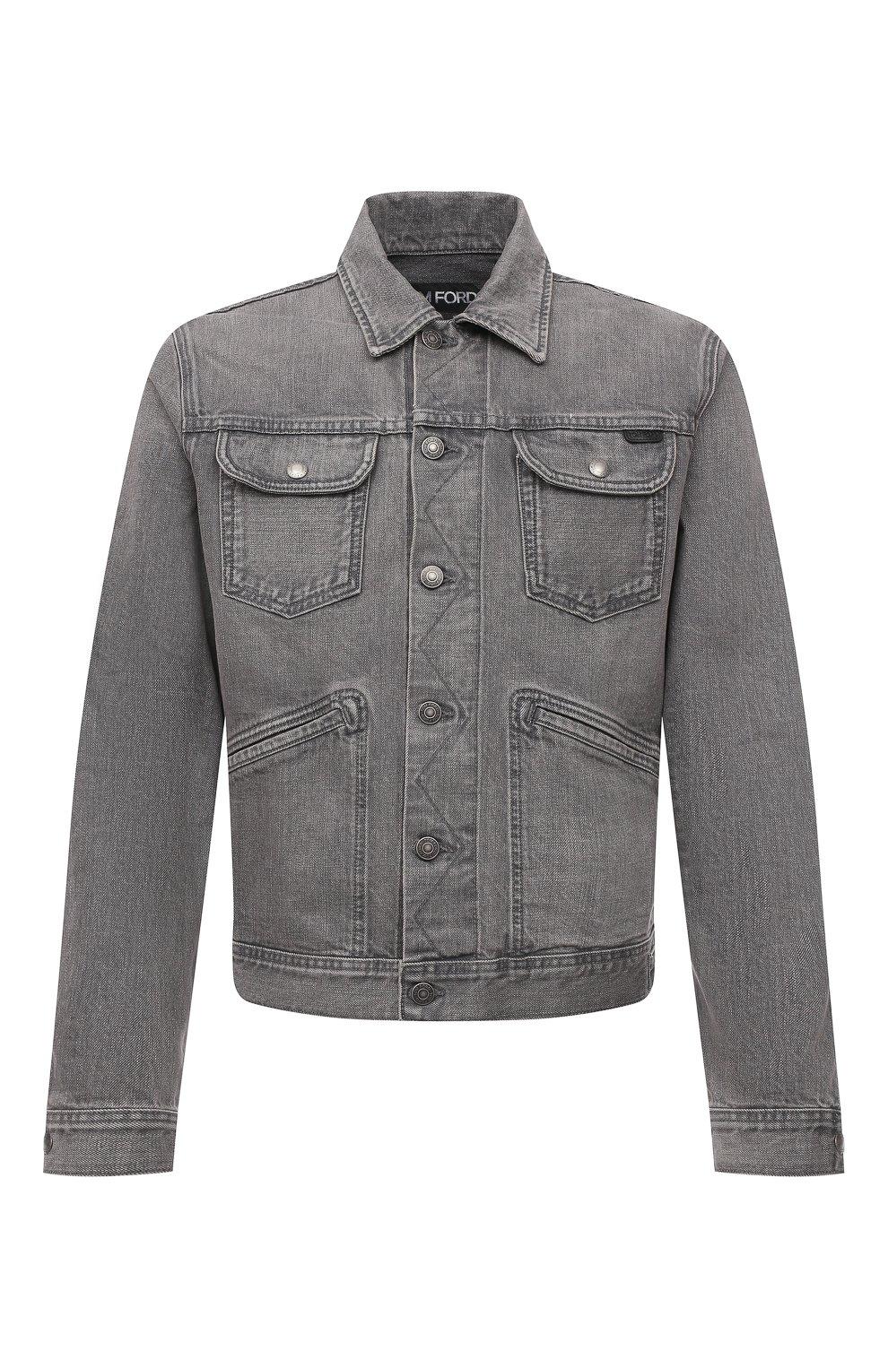 Мужская джинсовая куртка TOM FORD светло-серого цвета, арт. BWJ40/TFD116   Фото 1