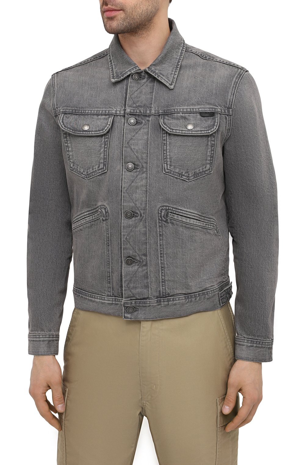 Мужская джинсовая куртка TOM FORD светло-серого цвета, арт. BWJ40/TFD116   Фото 3