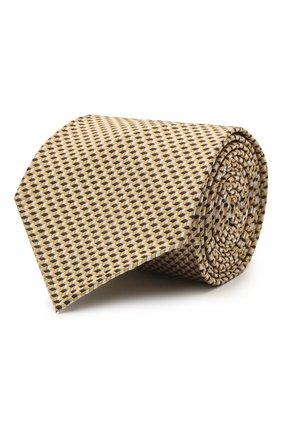 Мужской шелковый галстук BRIONI желтого цвета, арт. 061I00/P0427 | Фото 1 (Материал: Шелк, Текстиль; Принт: С принтом)