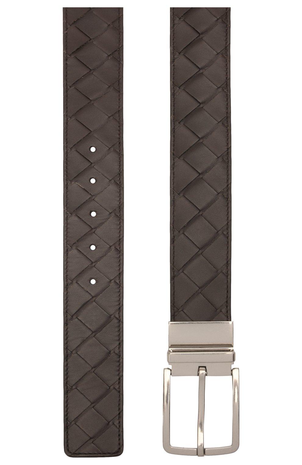 Мужской кожаный ремень BOTTEGA VENETA темно-коричневого цвета, арт. 652944/VCPQ1   Фото 2 (Случай: Повседневный)