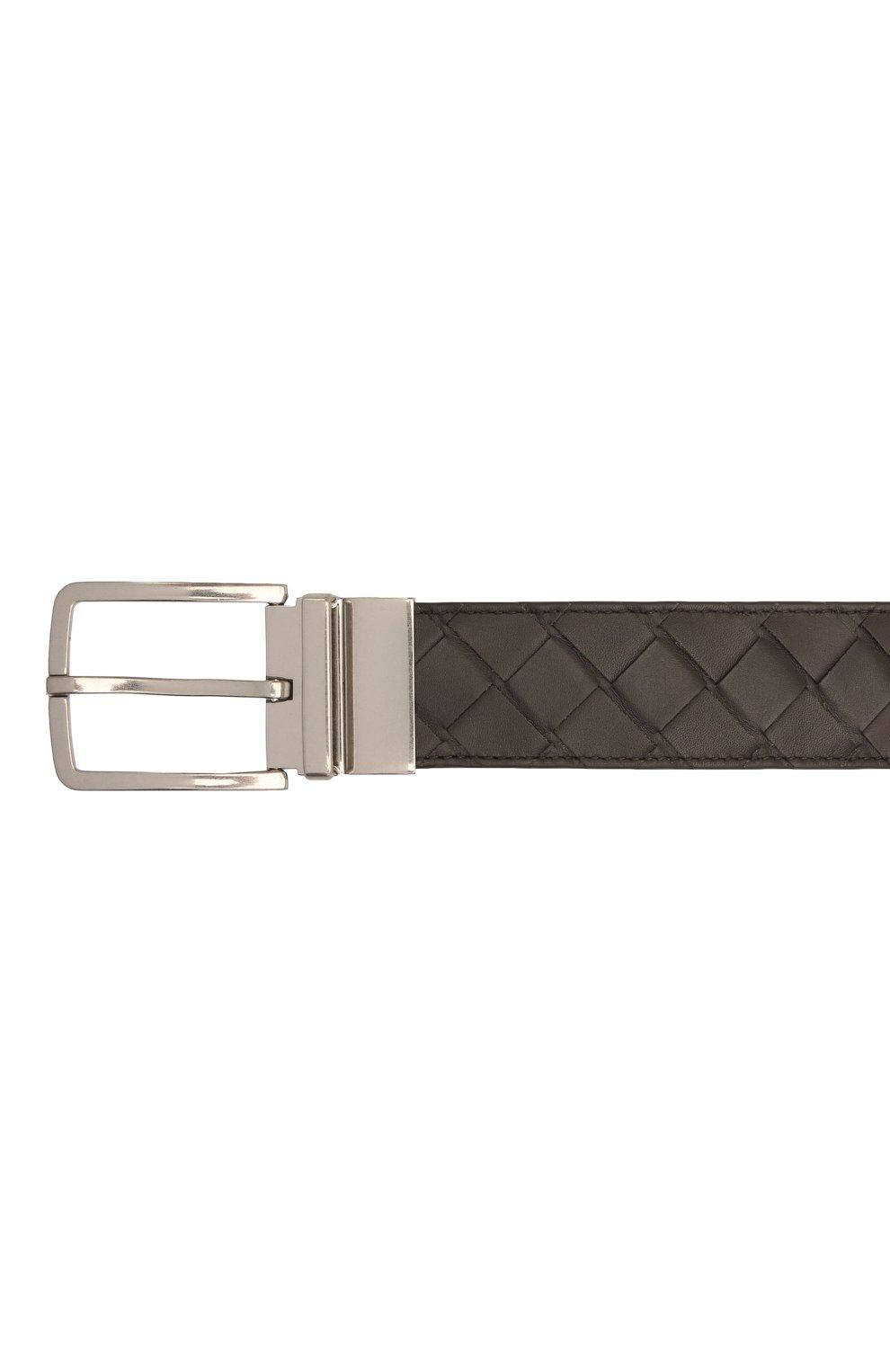 Мужской кожаный ремень BOTTEGA VENETA темно-коричневого цвета, арт. 652944/VCPQ1   Фото 3 (Случай: Повседневный)