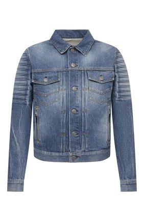 Мужская джинсовая куртка BALMAIN синего цвета, арт. VH1TC016/014D | Фото 1