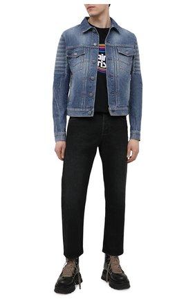 Мужская джинсовая куртка BALMAIN синего цвета, арт. VH1TC016/014D | Фото 2