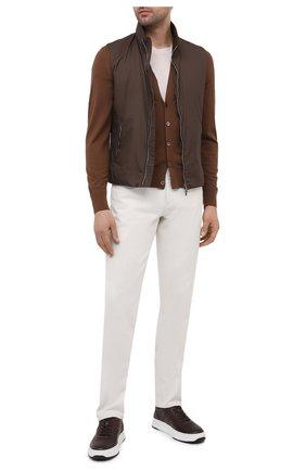 Мужские кожаные кеды TOD'S темно-коричневого цвета, арт. XXM79B0BS10DVR | Фото 2