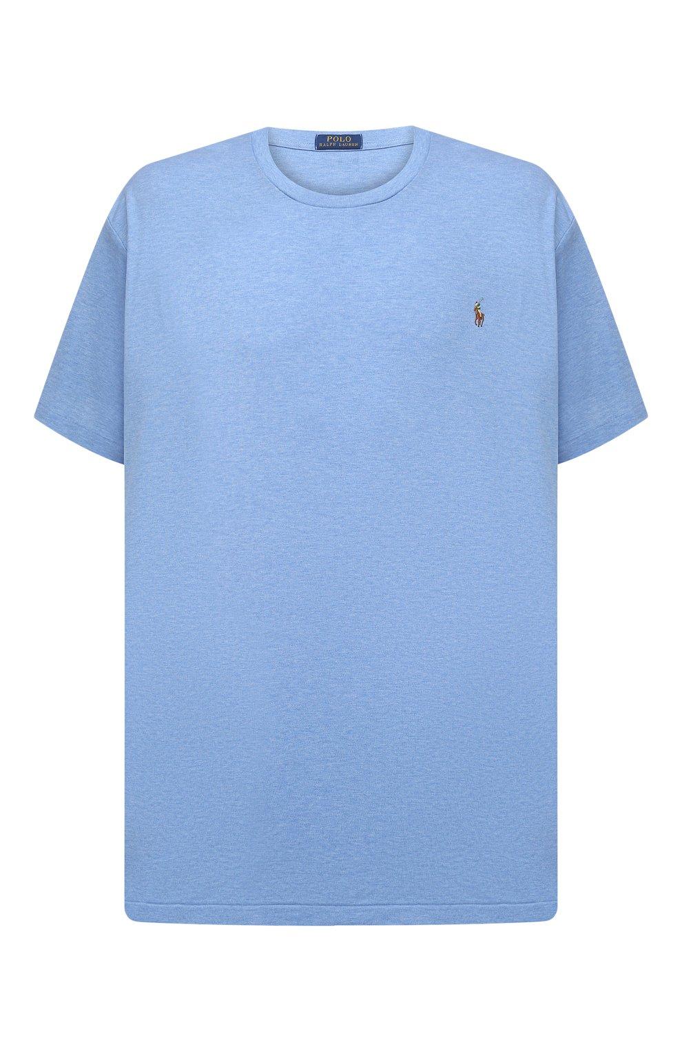 Мужская хлопковая футболка POLO RALPH LAUREN голубого цвета, арт. 711746817/PRL BS   Фото 1 (Big sizes: Big Sizes; Принт: Без принта; Рукава: Короткие; Длина (для топов): Удлиненные; Материал внешний: Хлопок; Стили: Кэжуэл)