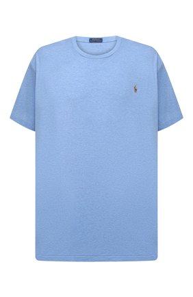 Мужская хлопковая футболка POLO RALPH LAUREN голубого цвета, арт. 711746817/PRL BS | Фото 1