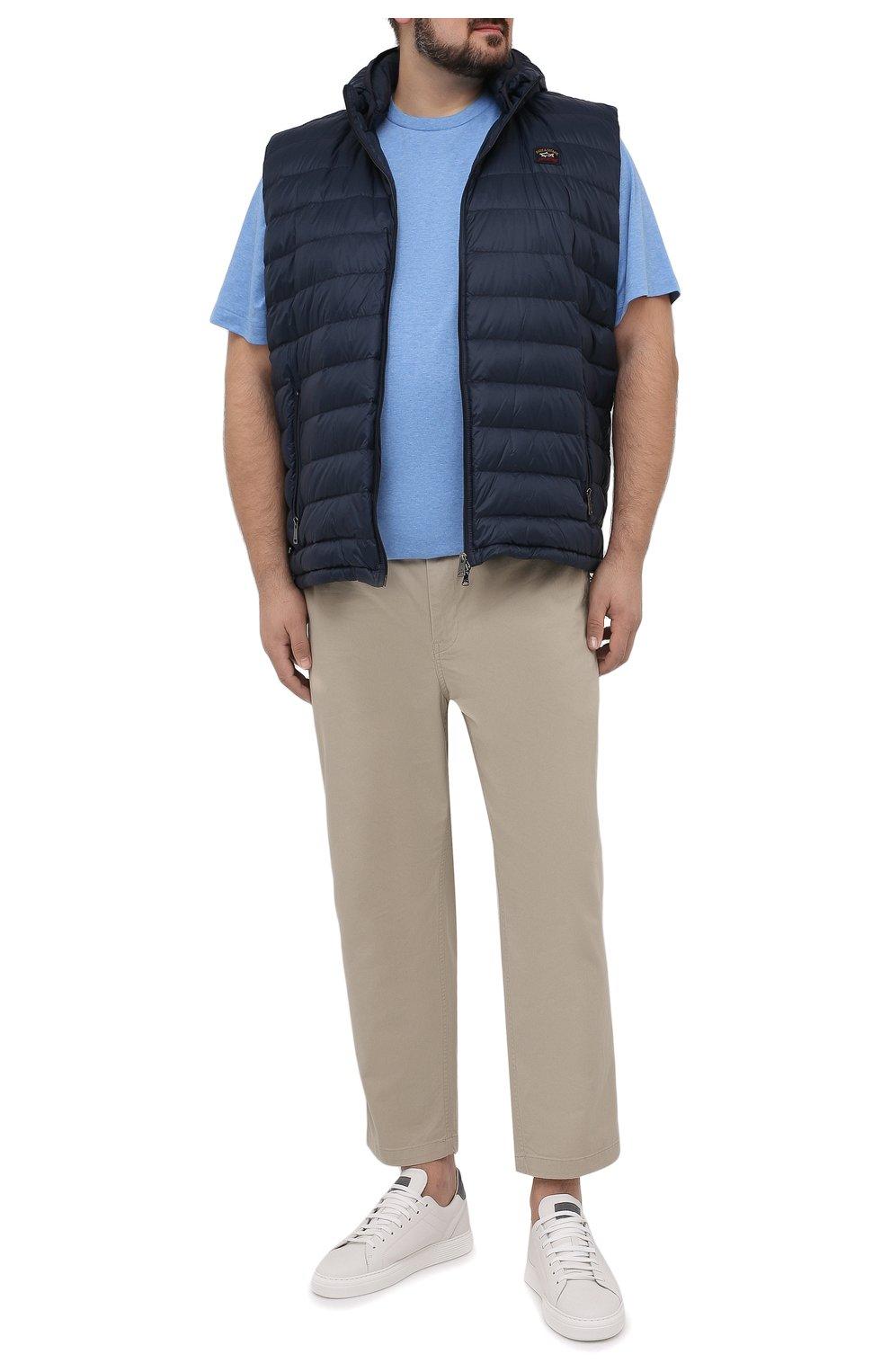 Мужская хлопковая футболка POLO RALPH LAUREN голубого цвета, арт. 711746817/PRL BS   Фото 2 (Big sizes: Big Sizes; Принт: Без принта; Рукава: Короткие; Длина (для топов): Удлиненные; Материал внешний: Хлопок; Стили: Кэжуэл)