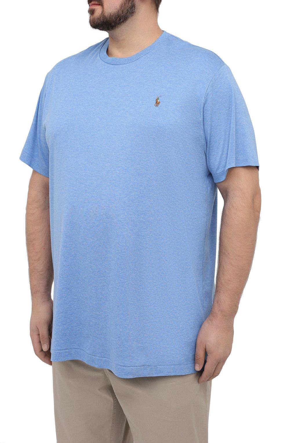 Мужская хлопковая футболка POLO RALPH LAUREN голубого цвета, арт. 711746817/PRL BS   Фото 3 (Big sizes: Big Sizes; Принт: Без принта; Рукава: Короткие; Длина (для топов): Удлиненные; Материал внешний: Хлопок; Стили: Кэжуэл)
