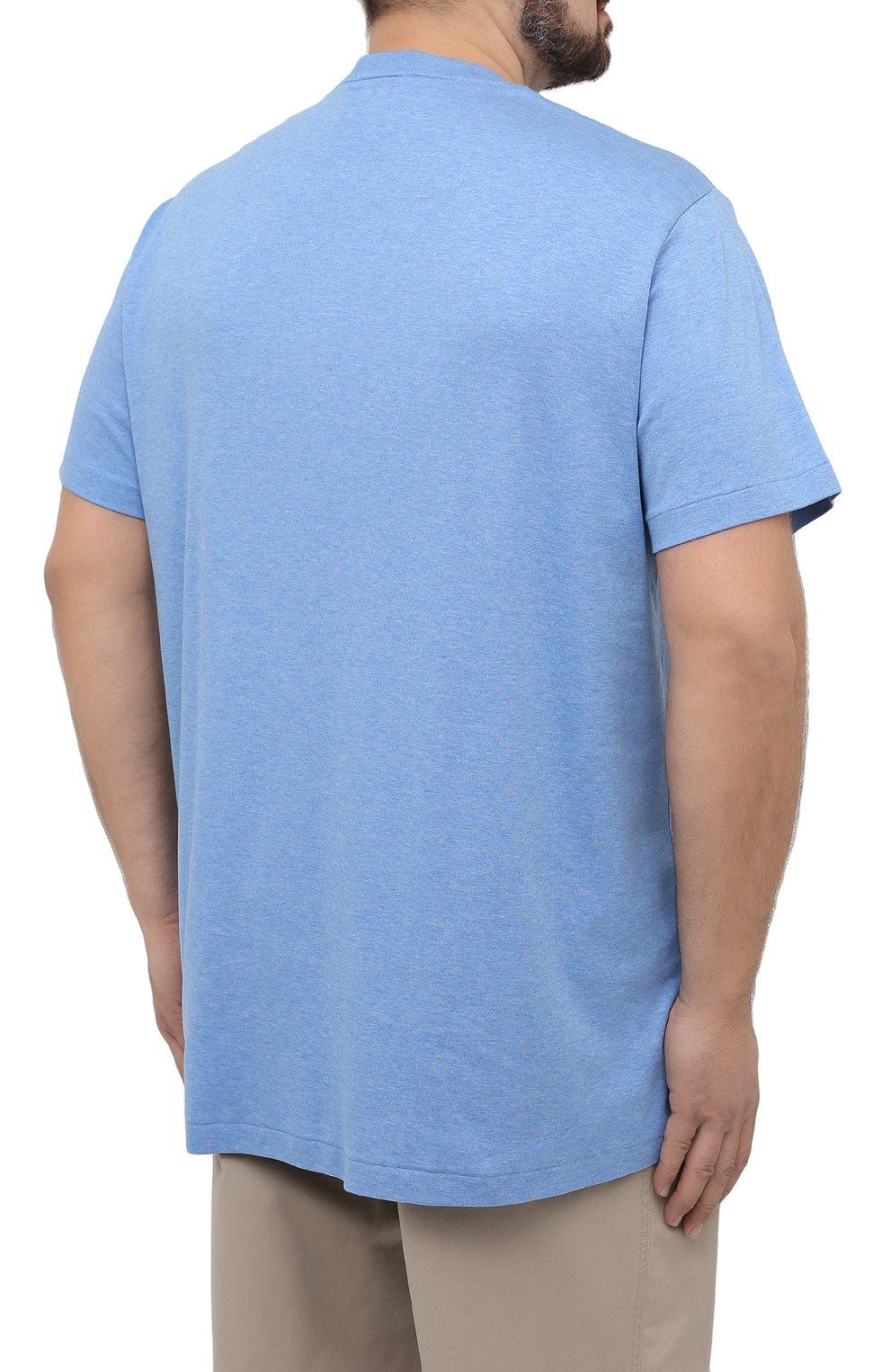 Мужская хлопковая футболка POLO RALPH LAUREN голубого цвета, арт. 711746817/PRL BS   Фото 4 (Big sizes: Big Sizes; Принт: Без принта; Рукава: Короткие; Длина (для топов): Удлиненные; Материал внешний: Хлопок; Стили: Кэжуэл)