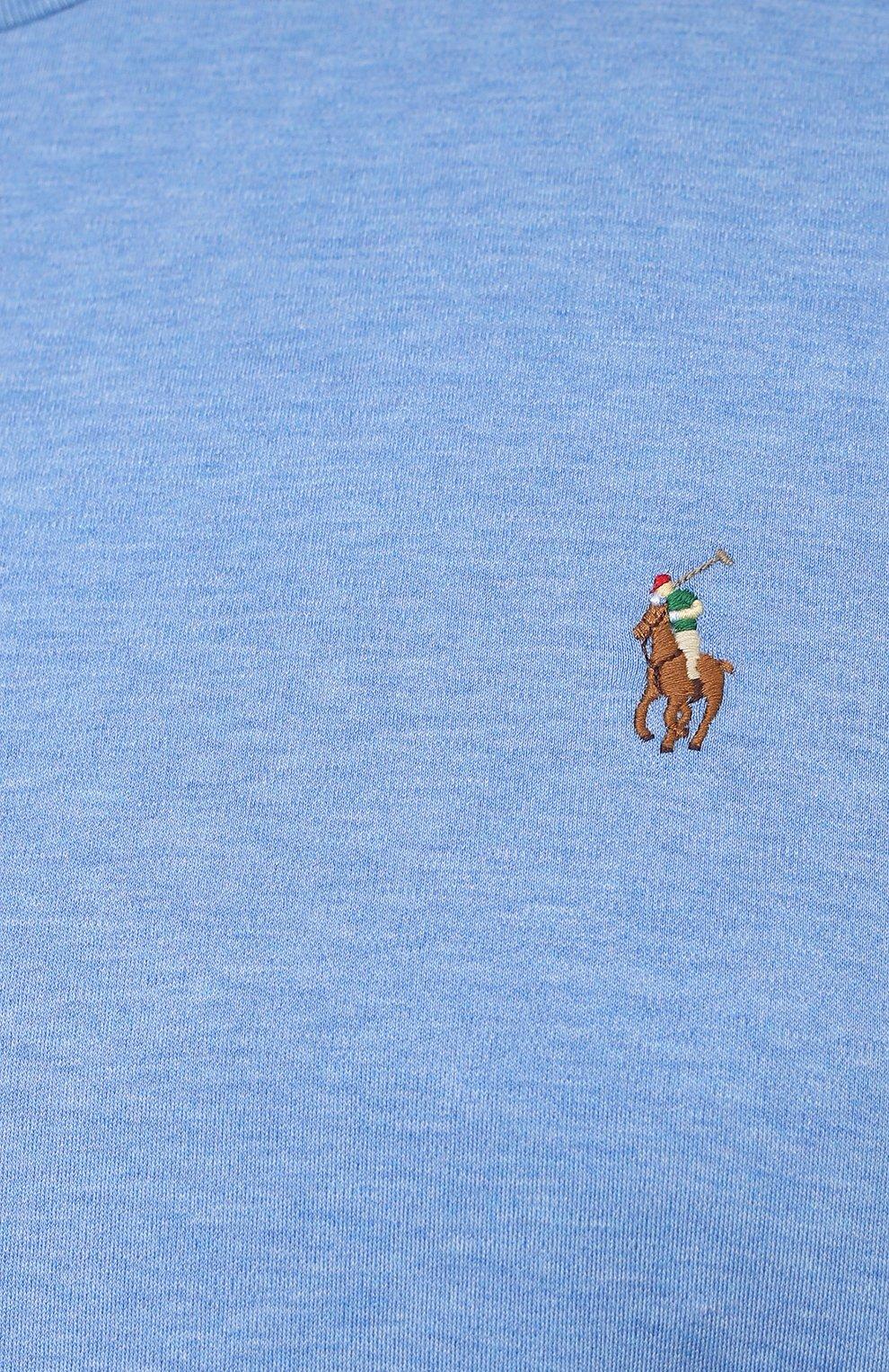 Мужская хлопковая футболка POLO RALPH LAUREN голубого цвета, арт. 711746817/PRL BS   Фото 5 (Big sizes: Big Sizes; Принт: Без принта; Рукава: Короткие; Длина (для топов): Удлиненные; Материал внешний: Хлопок; Стили: Кэжуэл)