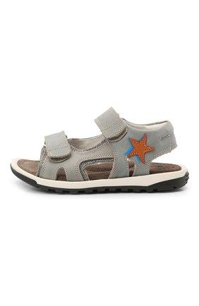 Детские кожаные сандалии RONDINELLA серого цвета, арт. 0767-4/1771/24-27   Фото 2 (Материал внутренний: Натуральная кожа)