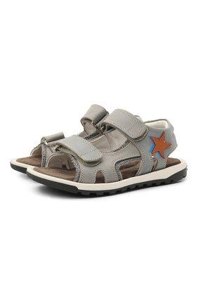 Детские кожаные сандалии RONDINELLA серого цвета, арт. 0767-4/1771/37-39   Фото 1 (Материал внутренний: Натуральная кожа)