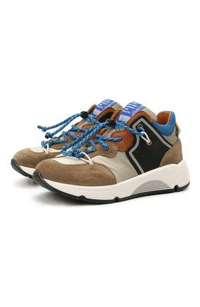 Детские замшевые кроссовки RONDINELLA коричневого цвета, арт. 11783/6298/28-30   Фото 1 (Материал внутренний: Натуральная кожа; Стили: Гранж)