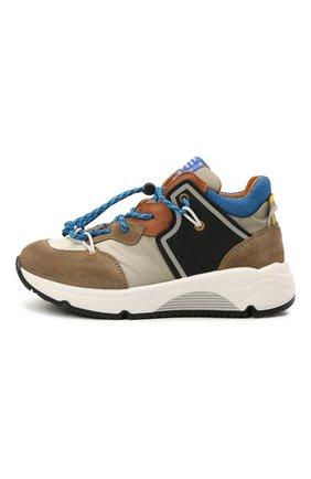 Детские замшевые кроссовки RONDINELLA коричневого цвета, арт. 11783/6298/28-30   Фото 2 (Материал внутренний: Натуральная кожа; Стили: Гранж)