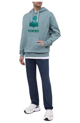Мужской хлопковое худи ISABEL MARANT бирюзового цвета, арт. SW0055-21P029H/MILEY | Фото 2