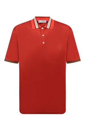 Мужское поло из хлопка и шелка CORTIGIANI красного цвета, арт. 116643/0000/60-70 | Фото 1