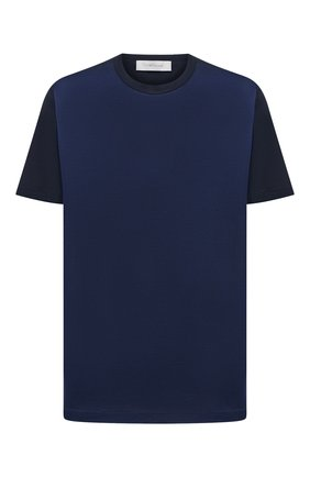Мужская футболка из хлопка и шелка CORTIGIANI темно-синего цвета, арт. 116646/0000/60-70 | Фото 1
