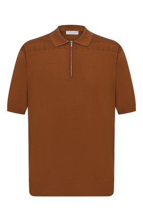 Мужское хлопковое поло CORTIGIANI коричневого цвета, арт. 119119/0800/60-70 | Фото 1