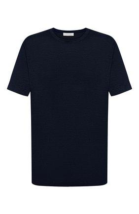 Мужская льняная футболка CORTIGIANI темно-синего цвета, арт. 116660/0000/60-70 | Фото 1
