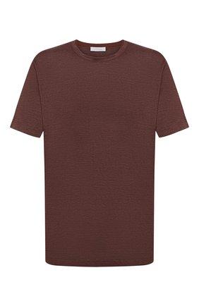 Мужская льняная футболка CORTIGIANI коричневого цвета, арт. 116660/0000/60-70 | Фото 1