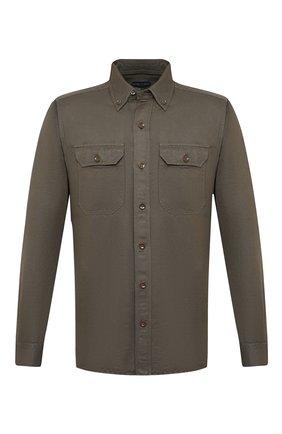 Мужская рубашка изо льна и хлопка TOM FORD хаки цвета, арт. 9FT999/94UDAN | Фото 1