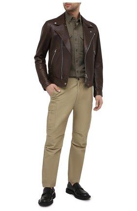 Мужская рубашка изо льна и хлопка TOM FORD хаки цвета, арт. 9FT999/94UDAN | Фото 2