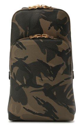 Мужской кожаный рюкзак TOM FORD хаки цвета, арт. H0420T-ICL022 | Фото 1