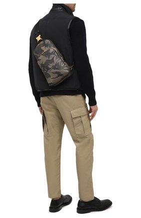 Мужской кожаный рюкзак TOM FORD хаки цвета, арт. H0420T-ICL022 | Фото 2
