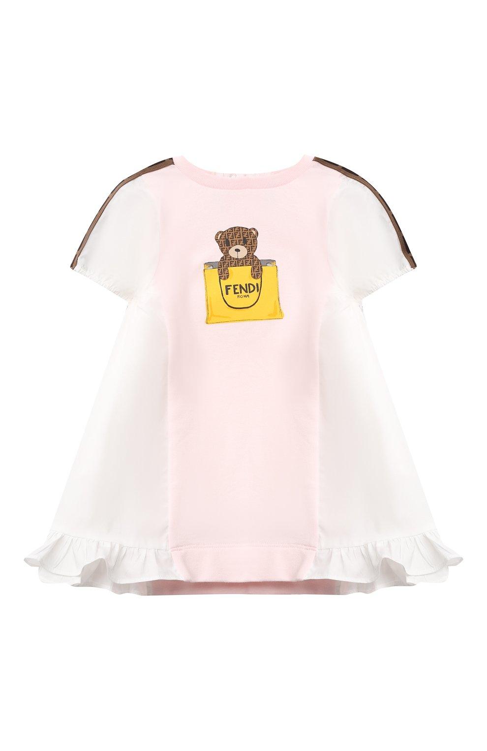 Женский хлопковое платье FENDI розового цвета, арт. BFB347/AEYZ/3M-9M | Фото 1