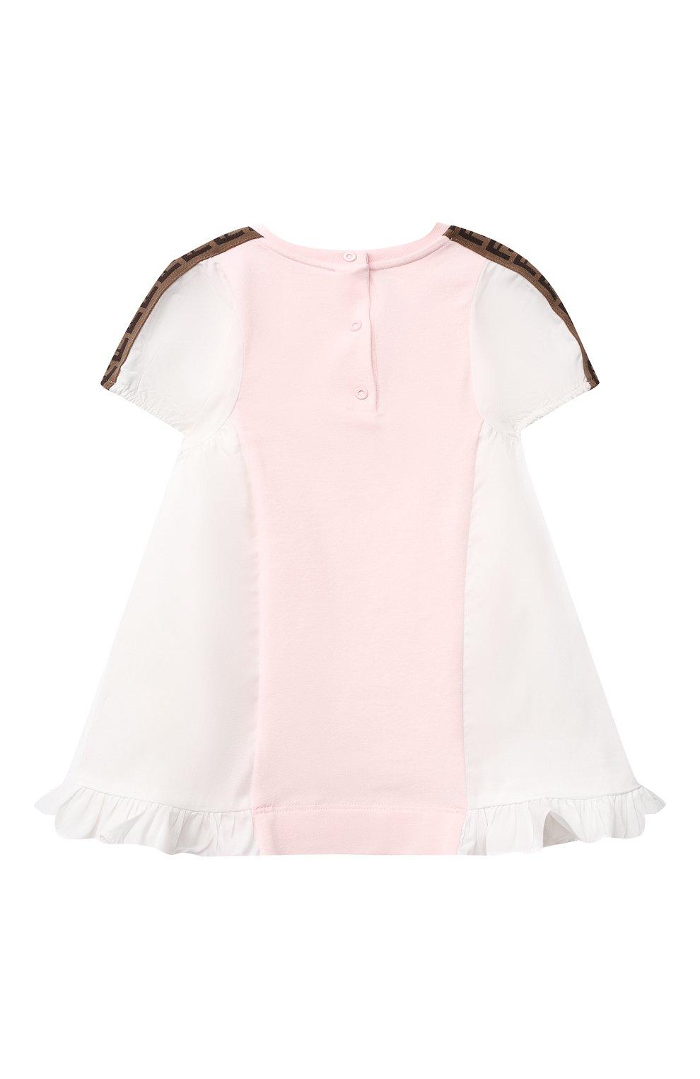 Женский хлопковое платье FENDI розового цвета, арт. BFB347/AEYZ/3M-9M | Фото 2