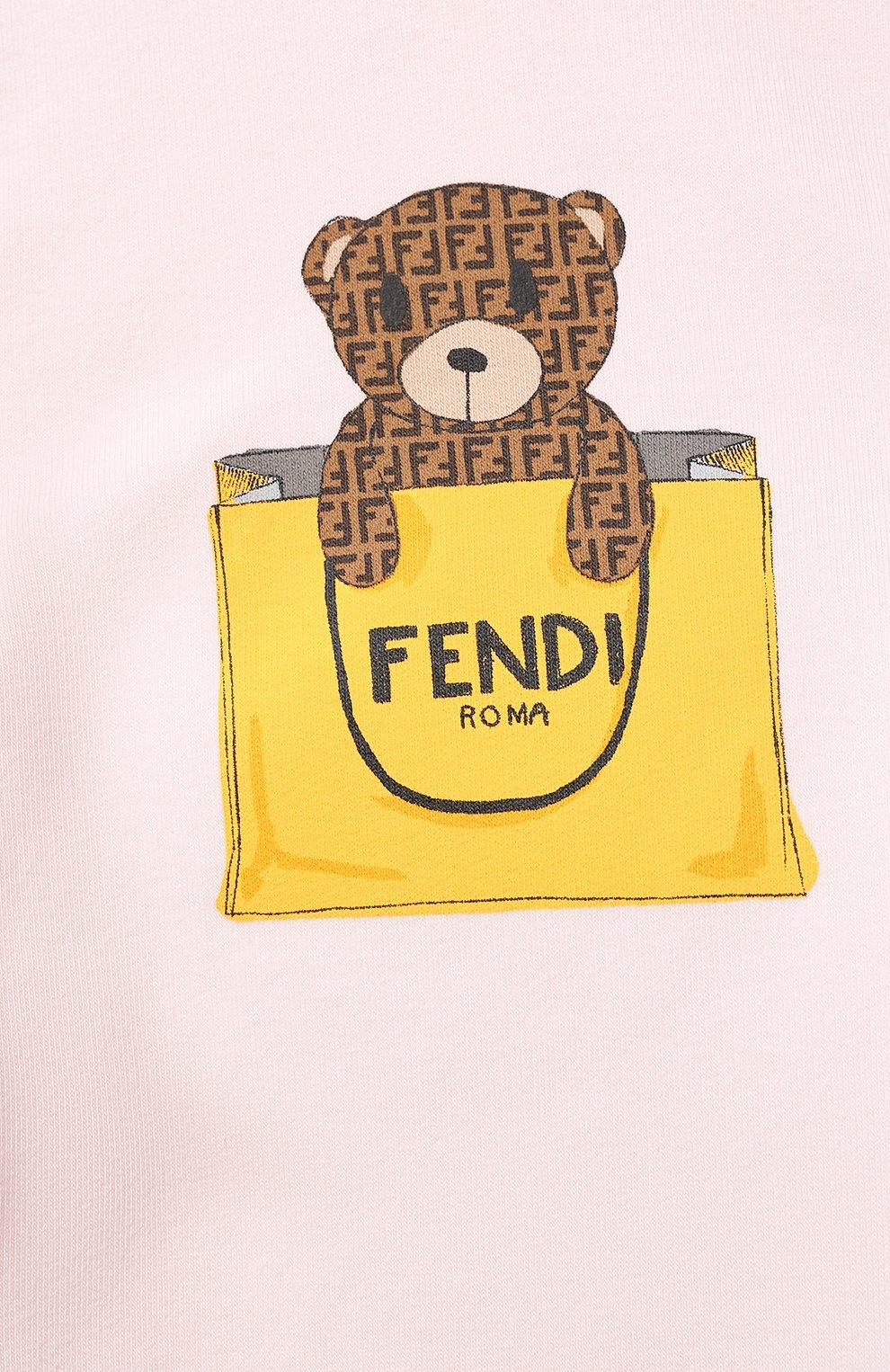 Женский хлопковое платье FENDI розового цвета, арт. BFB347/AEYZ/3M-9M | Фото 3