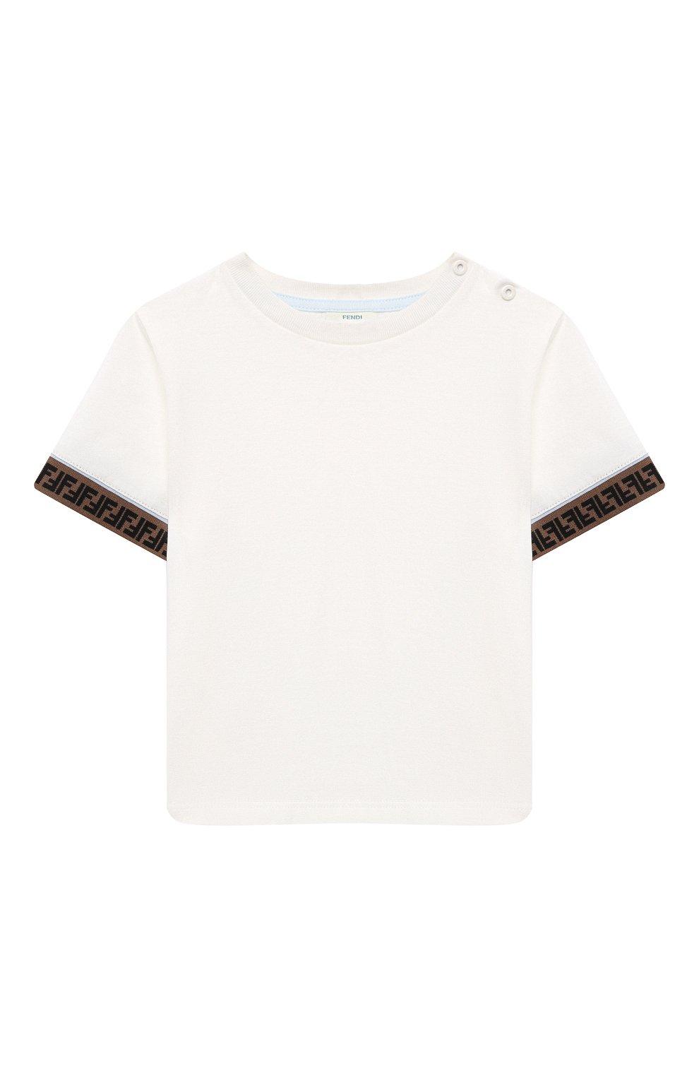 Детский хлопковая футболка FENDI белого цвета, арт. BMI216/ST8/12M-24M | Фото 1