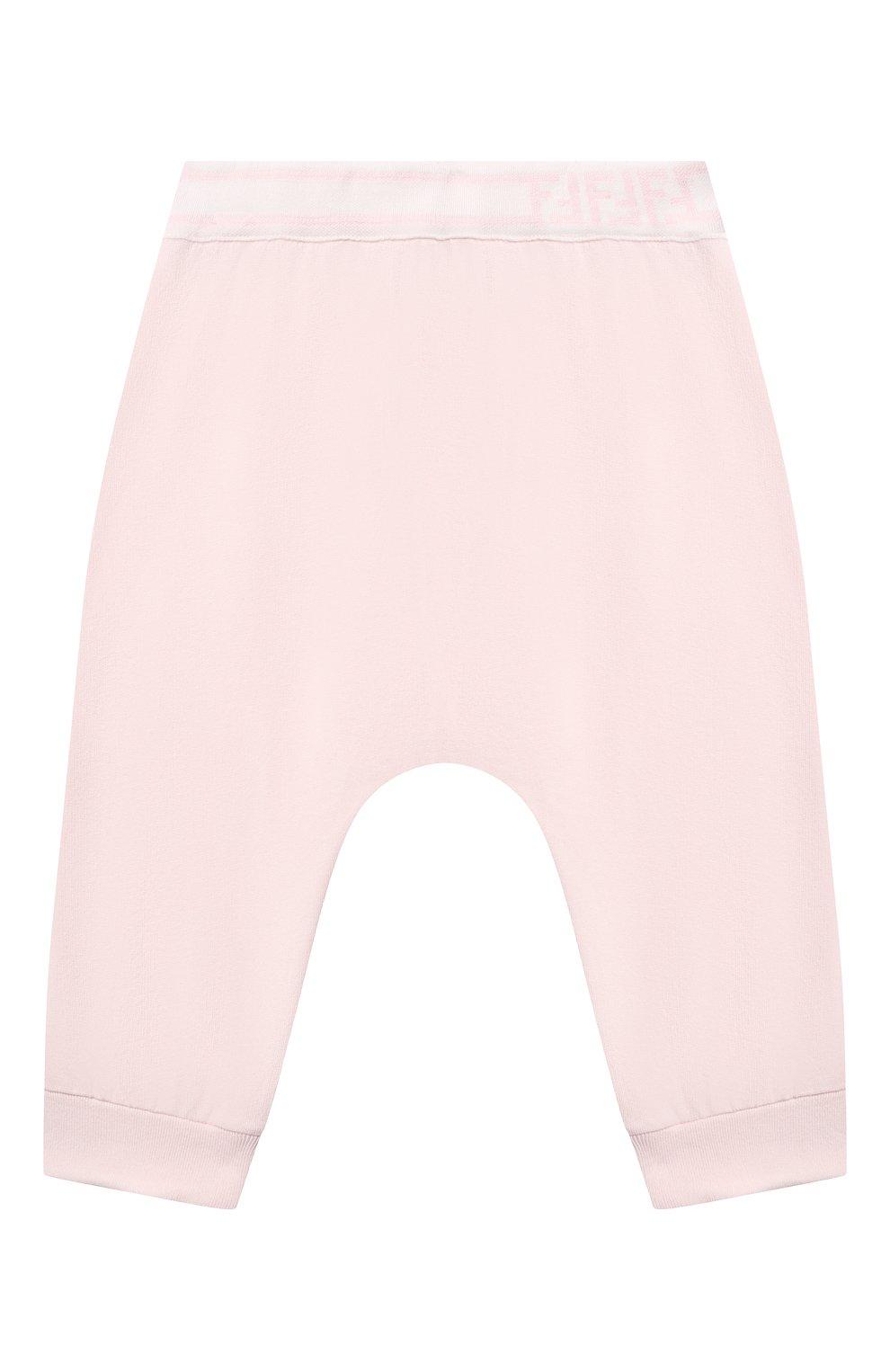 Детские хлопковые джоггеры FENDI розового цвета, арт. BUF043/8RA/12M-24M   Фото 1 (Материал внешний: Хлопок; Ростовка одежда: 12 мес   80 см, 18 мес   86 см, 24 мес   92 см)