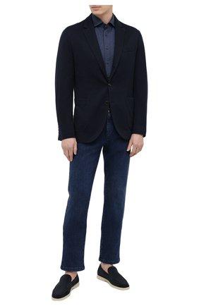 Мужская хлопковая рубашка ZILLI SPORT темно-синего цвета, арт. MFV-88001-@/ZS7663 | Фото 2
