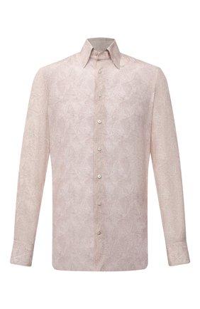 Мужская сорочка из шелка и хлопка ZILLI светло-бежевого цвета, арт. MFV-84080-G11614/0007 | Фото 1