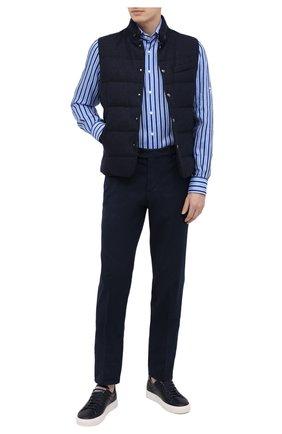 Мужская льняная рубашка ZILLI голубого цвета, арт. MFV-84063-11701/0007 | Фото 2