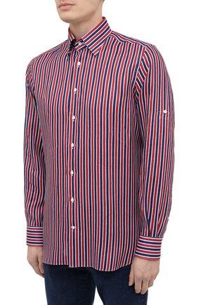 Мужская льняная рубашка ZILLI красного цвета, арт. MFV-84063-11701/0006 | Фото 3