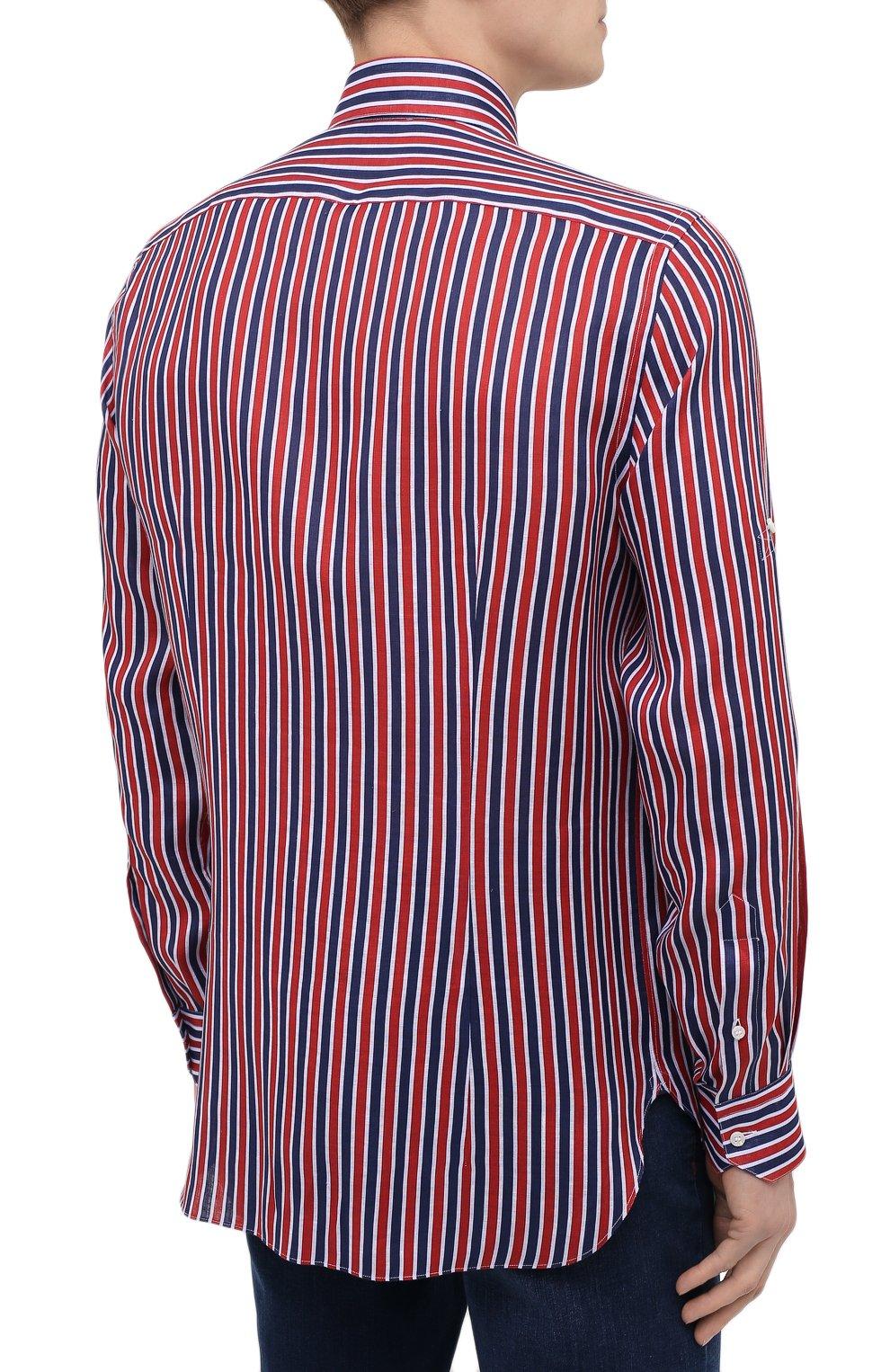 Мужская льняная рубашка ZILLI красного цвета, арт. MFV-84063-11701/0006 | Фото 4