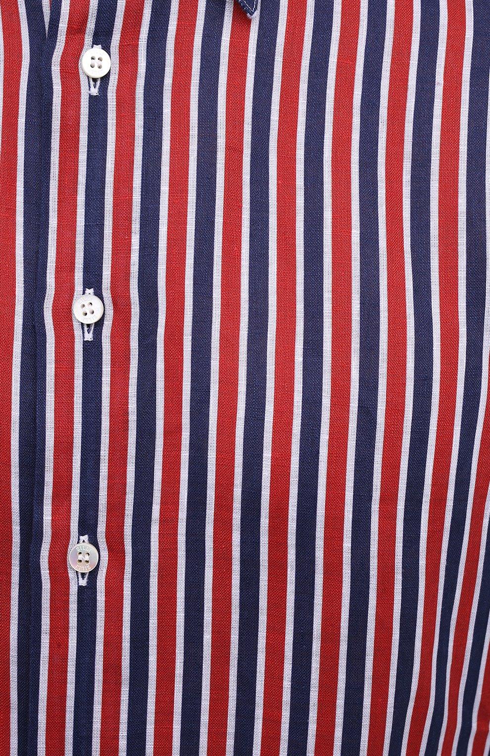Мужская льняная рубашка ZILLI красного цвета, арт. MFV-84063-11701/0006 | Фото 5