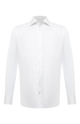 Мужская хлопковая сорочка ZILLI белого цвета, арт. MFV-4713-8436/0006 | Фото 1 (Принт: Однотонные; Стили: Классический; Случай: Вечерний; Манжеты: На пуговицах; Материал внешний: Хлопок; Рубашки М: Regular Fit; Рукава: Длинные; Длина (для топов): Стандартные; Воротник: Акула)