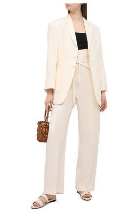 Женские льняные брюки JACQUEMUS кремвого цвета, арт. 211PA05/101110 | Фото 2