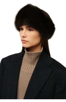 Женская повязка из меха соболя KUSSENKOVV коричневого цвета, арт. 163500003020   Фото 2 (Материал: Натуральный мех; Женское Кросс-КТ: Шапка-тюрбан)