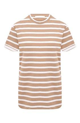 Женская футболка из хлопка и льна BOSS бежевого цвета, арт. 50436772 | Фото 1