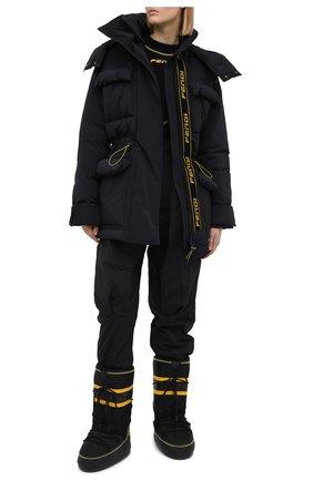 Женские текстильные сапоги  FENDI черного цвета, арт. 8U8072 AE74   Фото 2