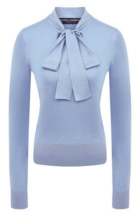 Женский шелковый пуловер DOLCE & GABBANA голубого цвета, арт. FX844T/JASMX | Фото 1 (Рукава: Длинные; Длина (для топов): Стандартные; Стили: Романтичный; Материал внешний: Шелк; Женское Кросс-КТ: Пуловер-одежда)