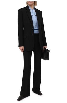 Женский шелковый пуловер DOLCE & GABBANA голубого цвета, арт. FX844T/JASMX | Фото 2 (Рукава: Длинные; Длина (для топов): Стандартные; Стили: Романтичный; Материал внешний: Шелк; Женское Кросс-КТ: Пуловер-одежда)