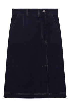 Женская джинсовая юбка DOLCE & GABBANA синего цвета, арт. F4BZDD/G899X   Фото 1 (Длина Ж (юбки, платья, шорты): До колена; Стили: Гранж; Кросс-КТ: Деним; Материал внешний: Хлопок; Женское Кросс-КТ: Юбка-одежда)